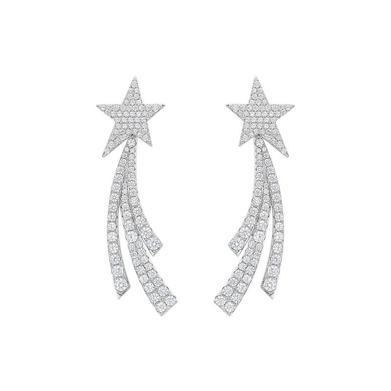 Round Created White Diamond Star Earrings