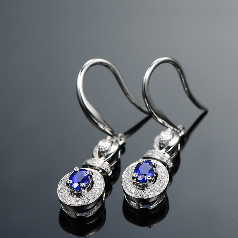Vintage Oval Blue Created Sapphire Dangle Hook Earrings