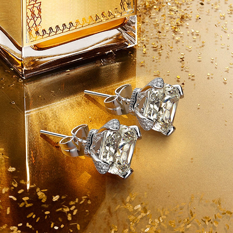 Square 925 Sterling Silver White Created Diamond Stud Earring
