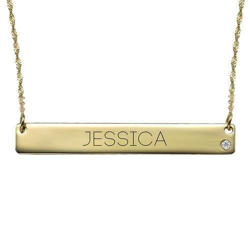 18K Gold Diamond & Engraving Bar Necklace Gift for Women MOM Girls