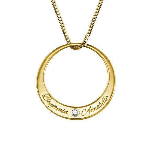 Circle Necklace With Two Name 18K Gold Plated Gift for Women Couple