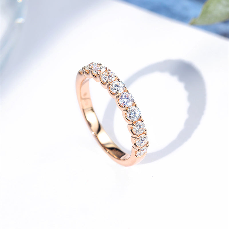 14K/18K Gold 1.7mm Round Cut Moissanite Diamond Half Eternity Ring
