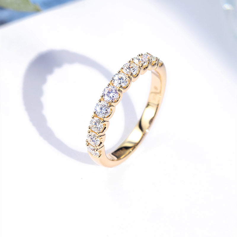 14K/18K Gold 2.7mm Round Cut Moissanite Diamond Half Eternity Ring