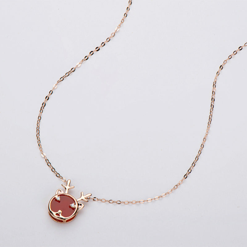 18K Rose Gold Natural Diamond Red Agate Lovely Fawn Pendant Necklace
