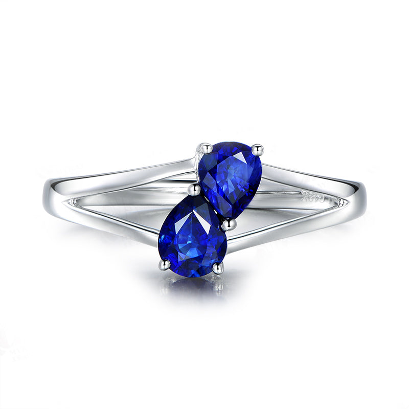 Double Pear Blue Created Sapphire Ring