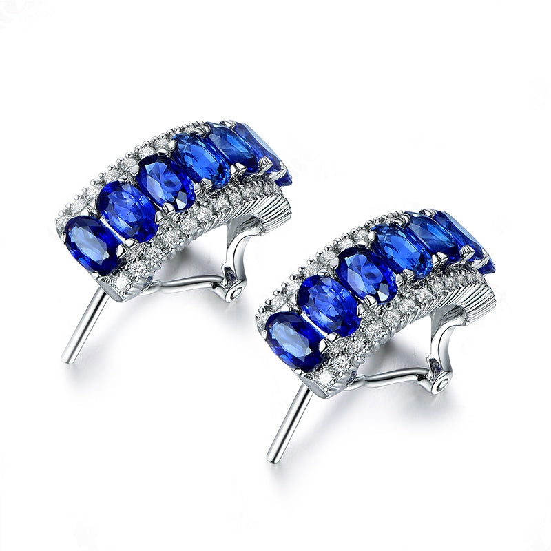 Vintage Created Sapphire Click Earrings