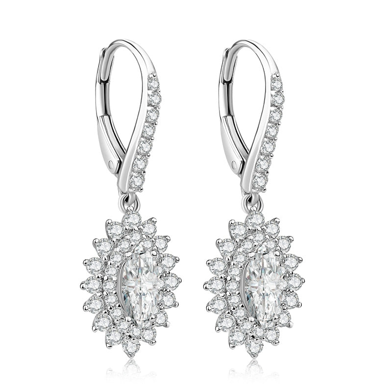 0.5CT Marquise Cut Halo Sterling Silver Created White Diamond Leverback Drop Earring