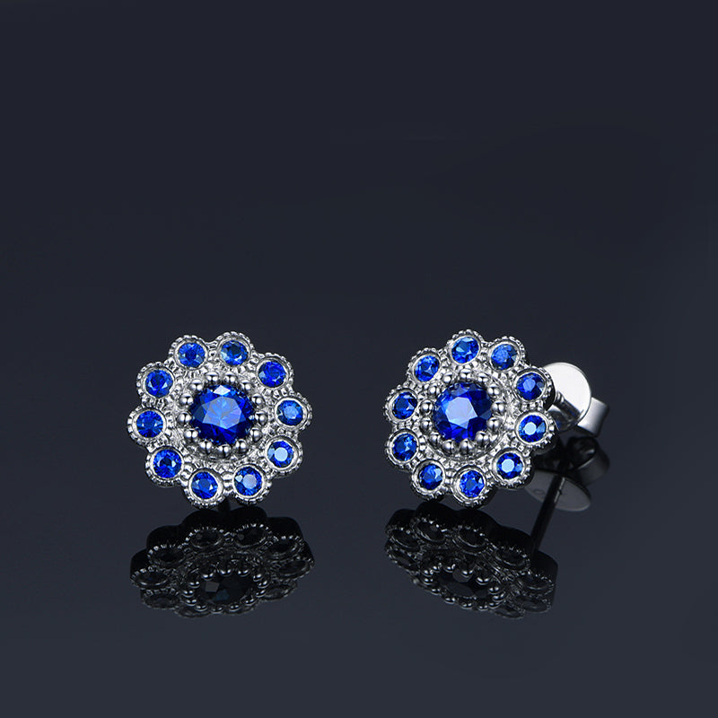 Sterling Silver Sunflower Created Blue Diamond Stud Earrings