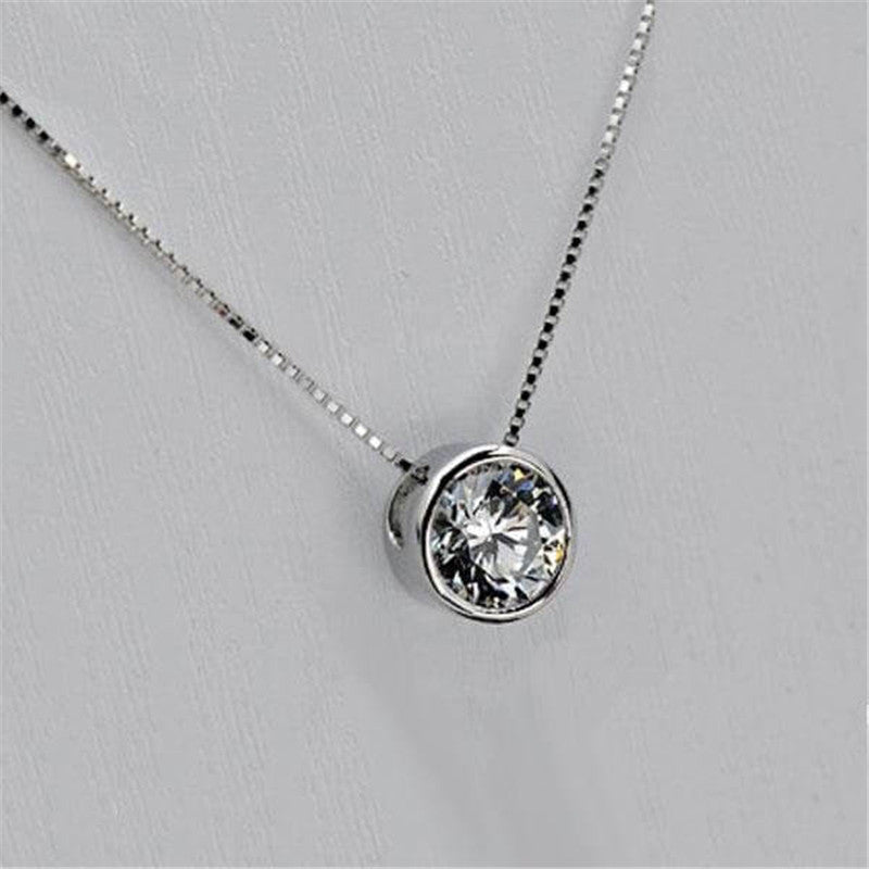 Round Create White Diamond Pendant Necklace