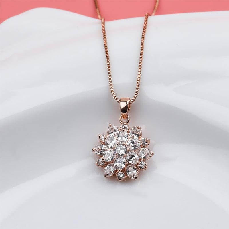 Rose Gold Flower Design Created White Diamond Pendant Necklace