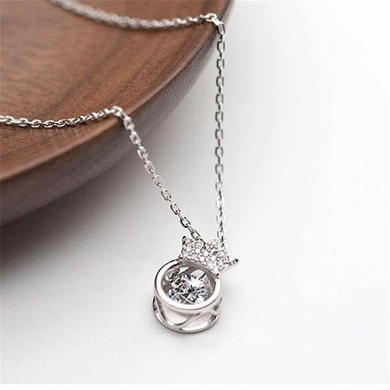 Crown Created White Diamond Pendant Necklace