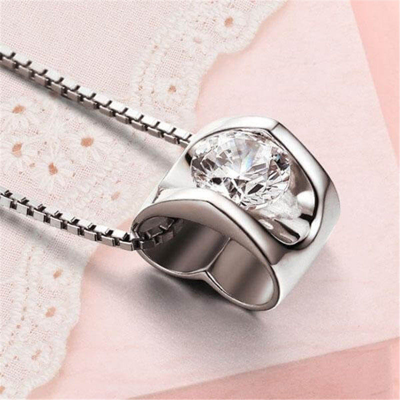 Heart Created White Diamond Pendant Necklace