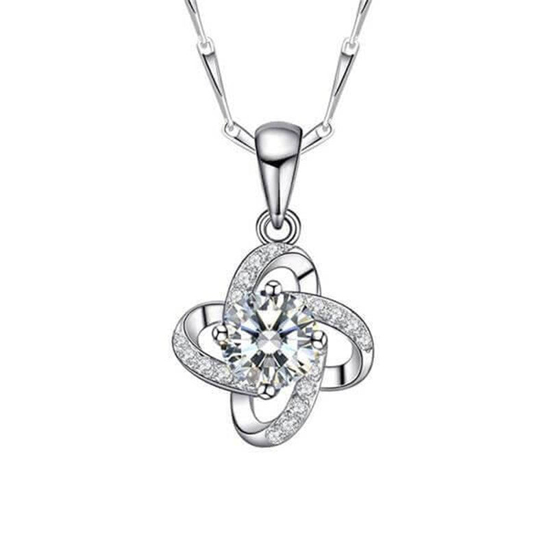 Lucky Clover Created White Diamond Pendant Necklace