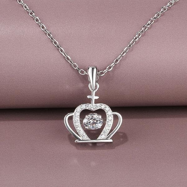 Sterling Silver Round Crown Pendant Necklace