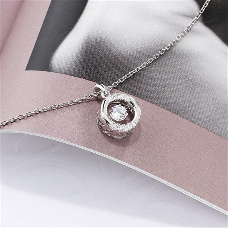 Beating Heart Created White Diamond Pendant Necklace