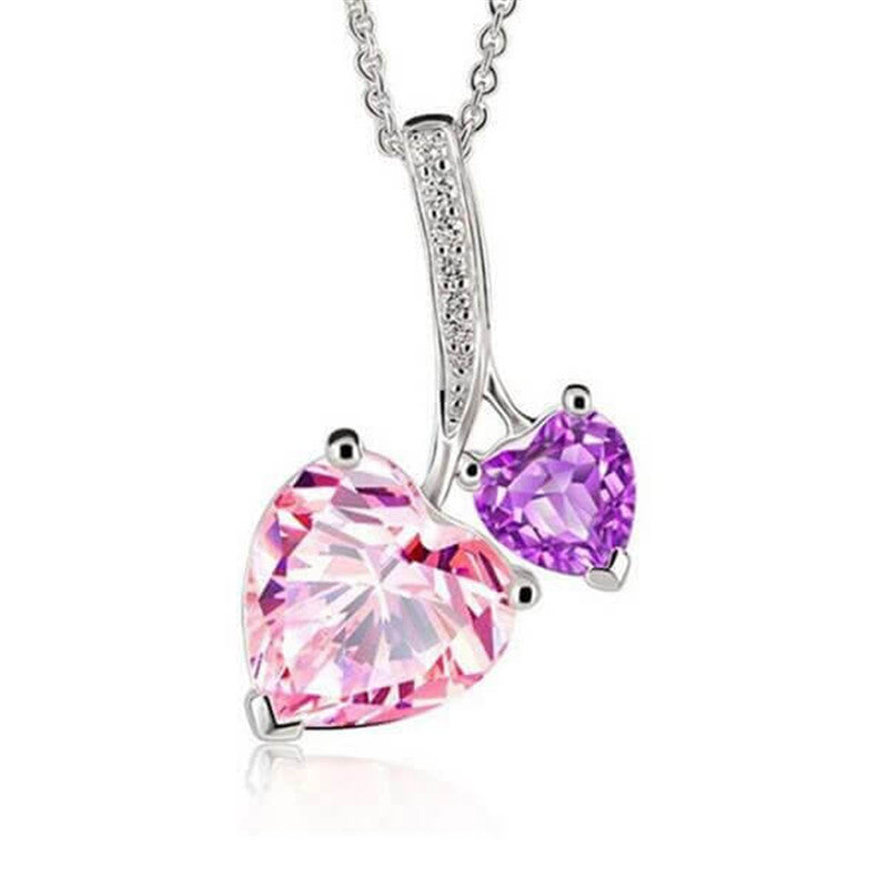 You & Me Heart Design Created Pink & Amethyst Pendant Necklace