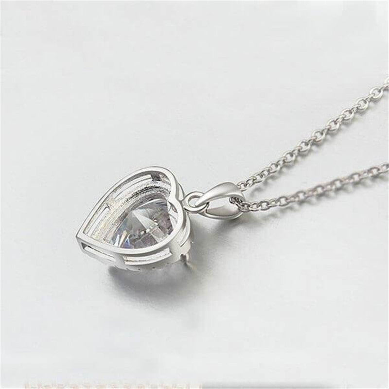 Halo Heart Created White Diamond Pendant Necklace