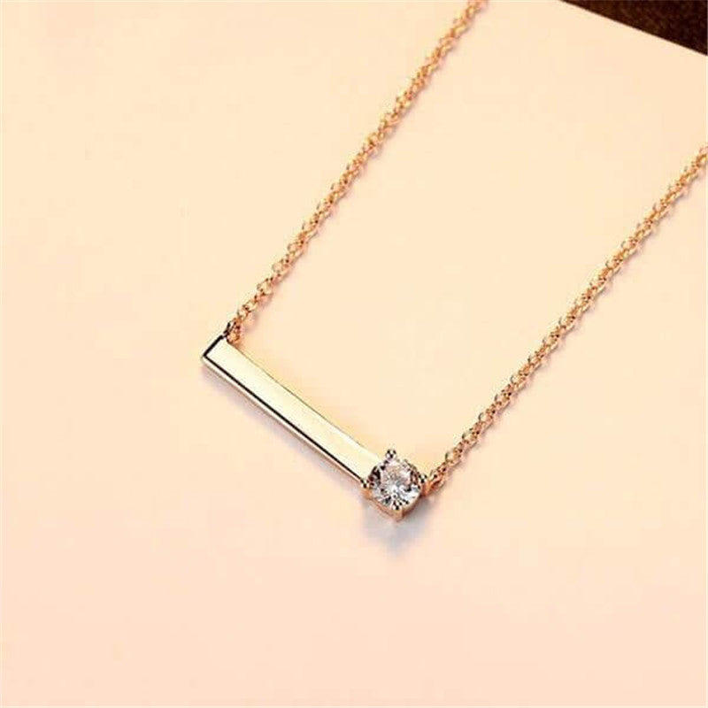 Classic Created White Diamond Bar Necklace