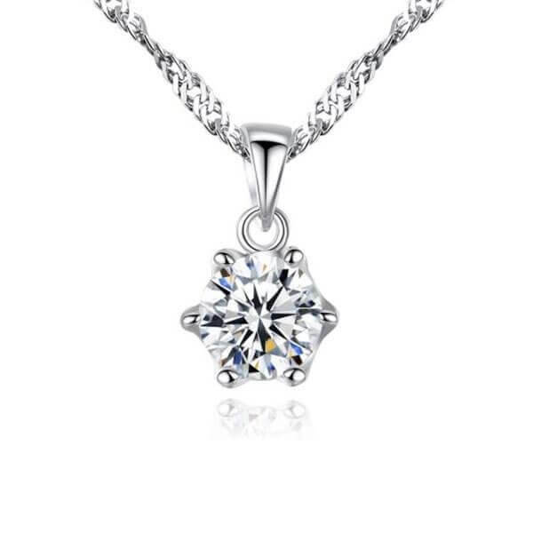 Classic Created White Diamond Pendant Necklace