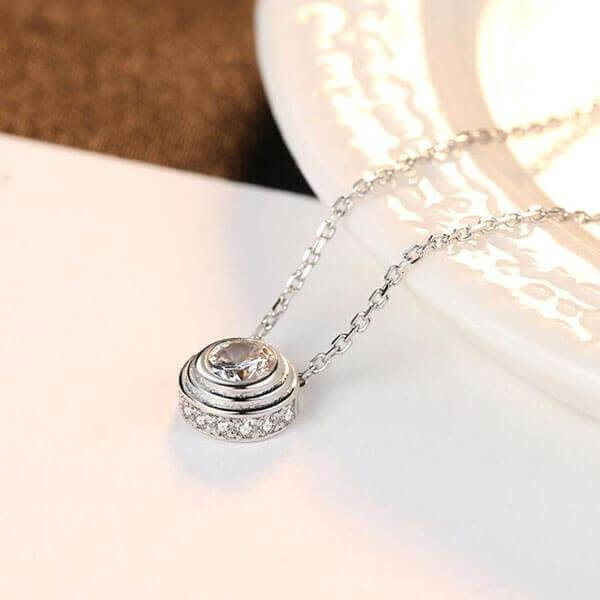 Sterling Silver Round Main Stone Pendant Necklace