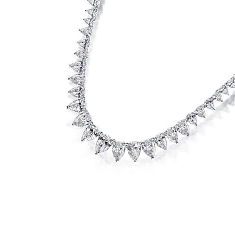 Pear Design Created White Diamond Tennis Necklace