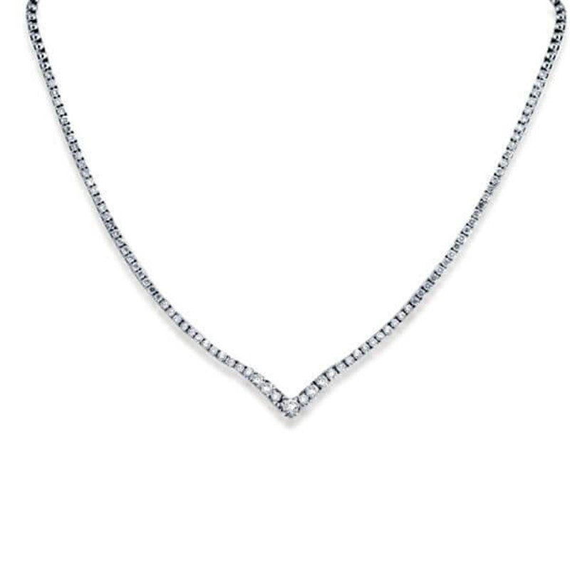 Classic Right Angle Design Created White Diamond Tennis Necklace
