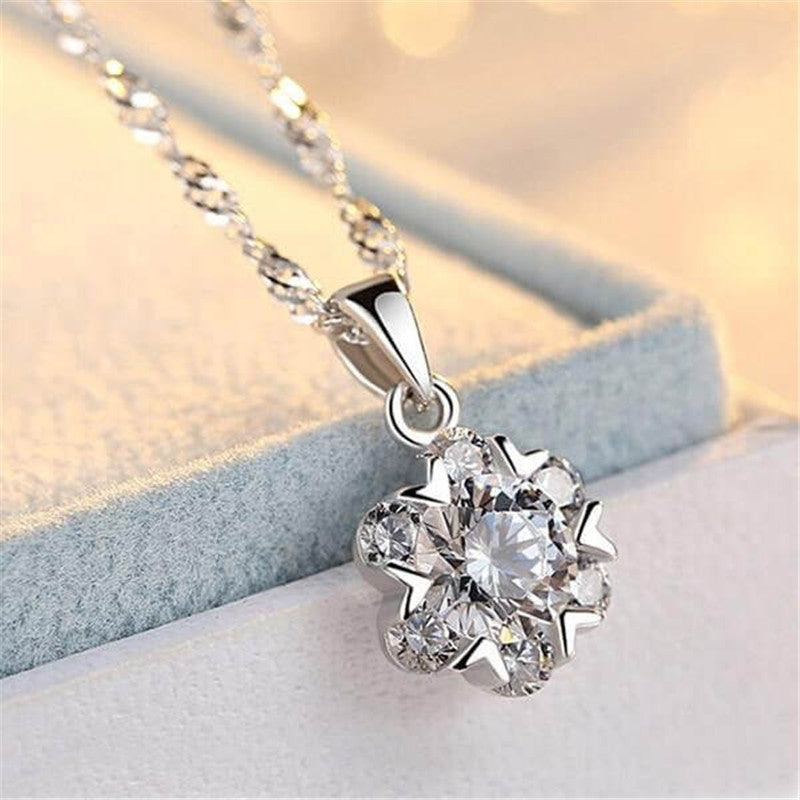 Snowflake Design Created White Diamond Pendant Necklace
