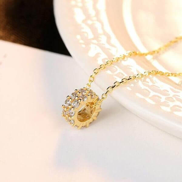 Double Row Golden Created White Diamond Pendant Necklace