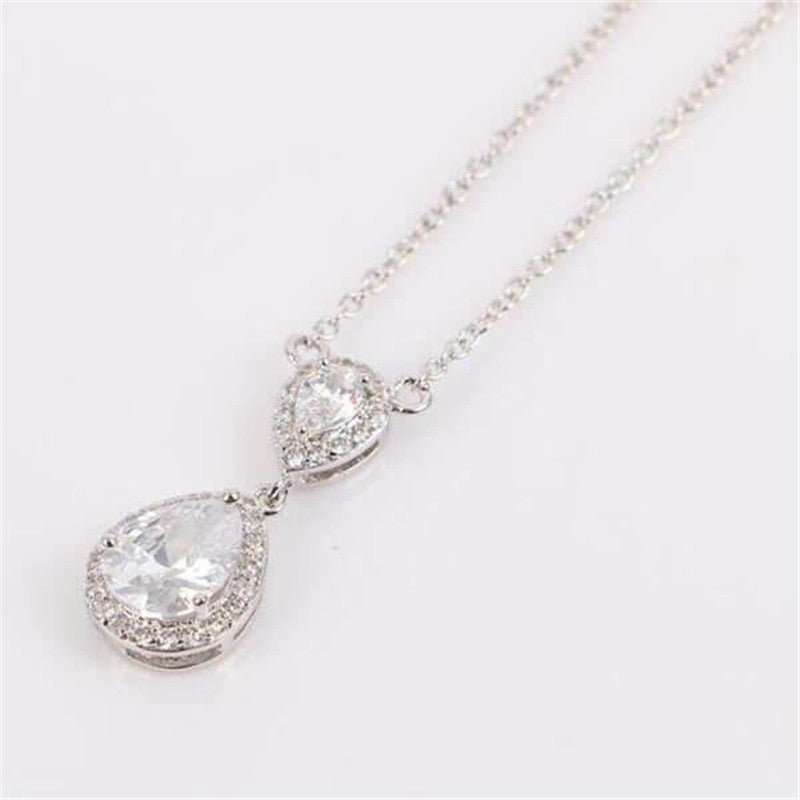 Halo Pear Created White Diamond Pendant Necklace