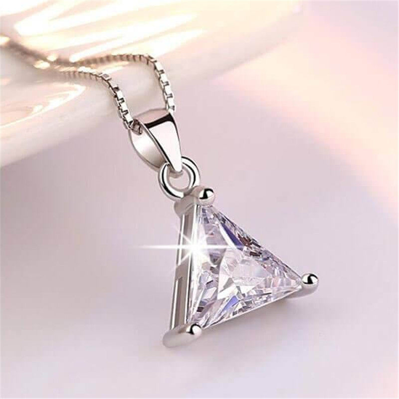 Trillion Cut Created White Diamond Pendant Necklace