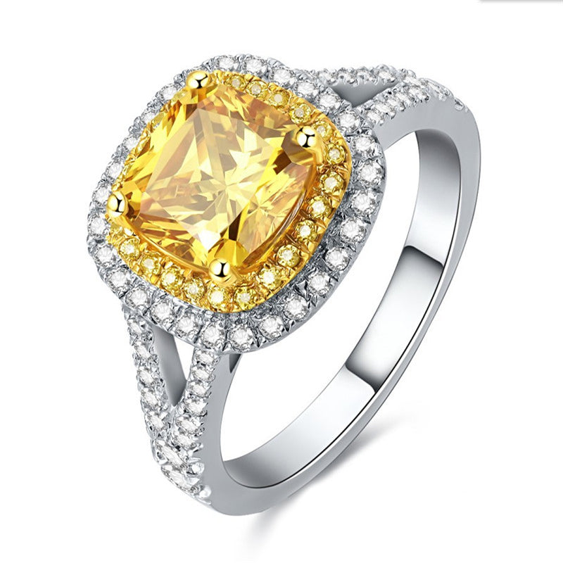 Halo Cushion Created Yellow Diamond Rings