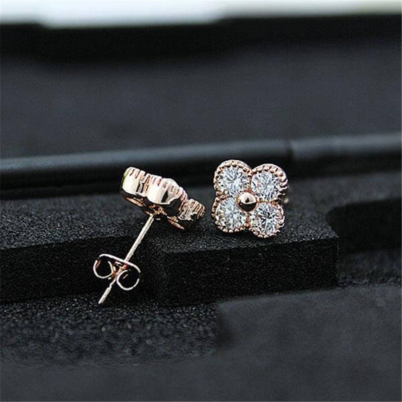 Clover Rose Gold Created White Diamond Stud Earrings
