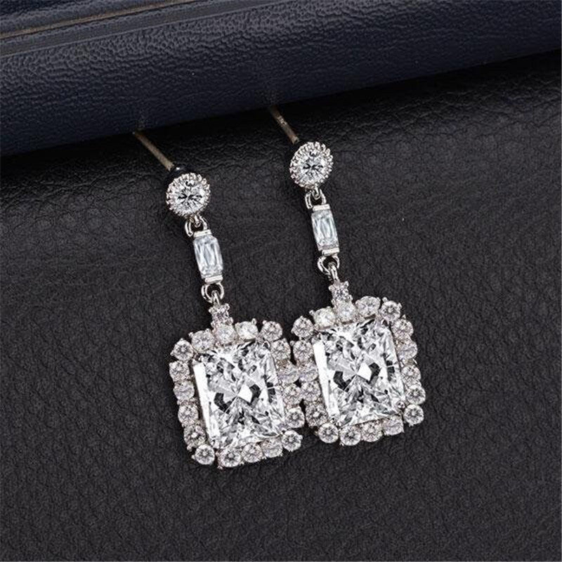 Halo Radiant Created White Diamond Drop Earrings
