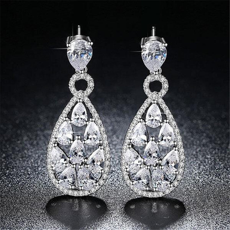 Pear Created White Diamond Drop Earrings