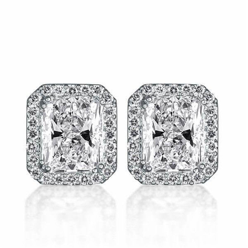 Radiant Created White Diamond Stud Earrings