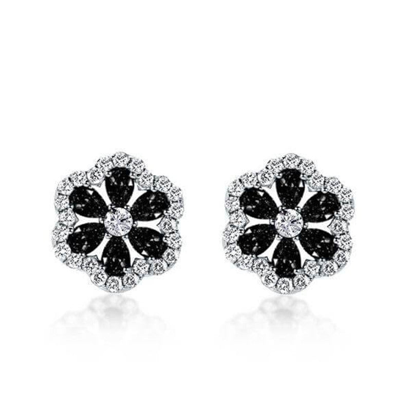 Flower Design Created Black Diamond Stud Earrings