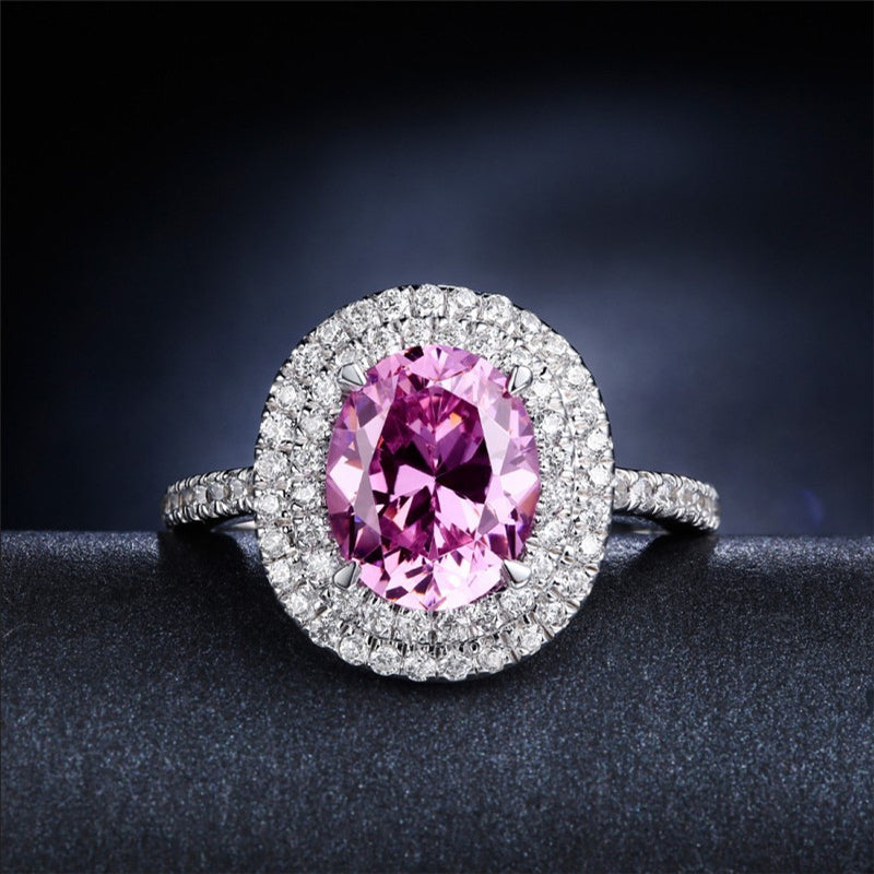 Halo Oval Created Pink Diamond Rings