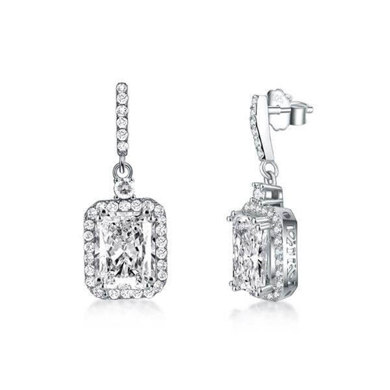Double Prong Halo Radiant Created Diamond Drop Earrings