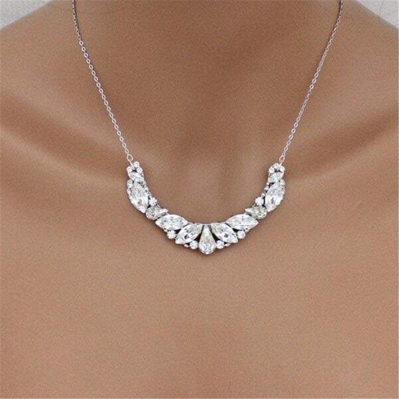 Special Design Pear & Marquise Created Diamond Pendant Necklace
