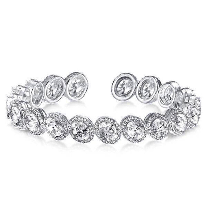 Halo Oval Created White Diamond Bangle Bracelet