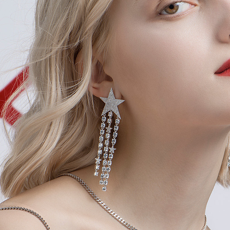 Round Created White Diamond Starry Tassel Drop Earrings