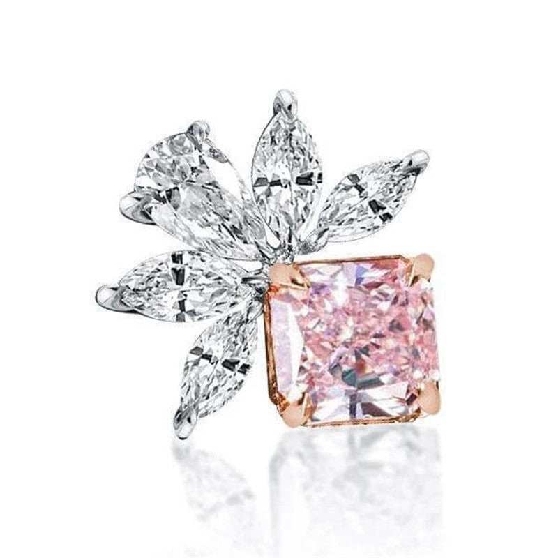 Princes Marquise Pink Created White Diamond Stud Earrings