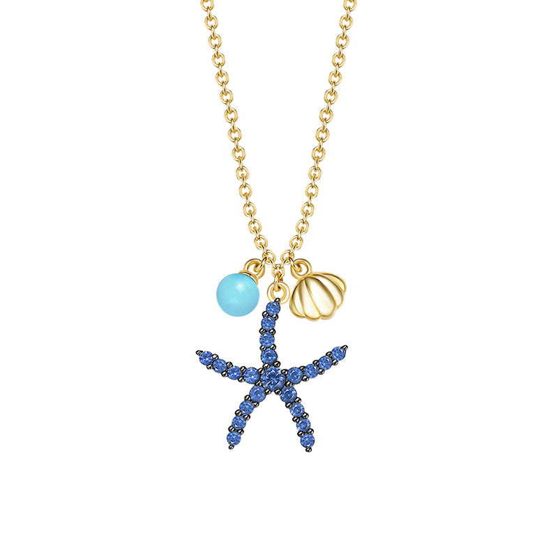 White & Yellow Gold Color Created Diamond Starfish Pendant Necklace