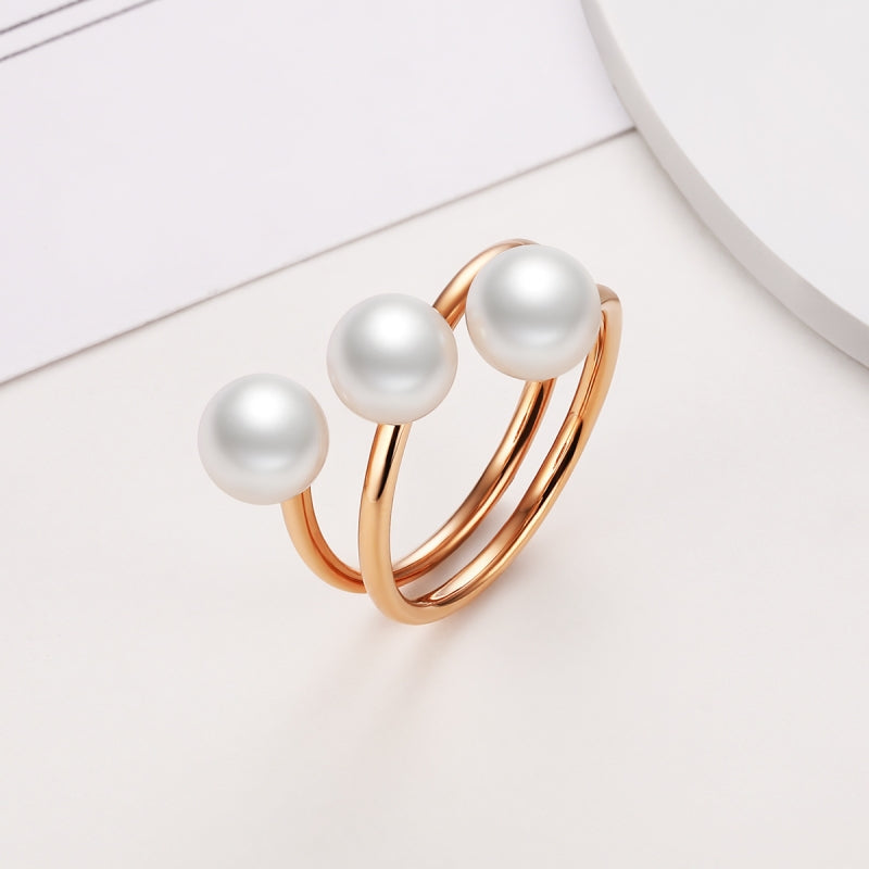 18K Rose Gold Freshwater White 3 Pearl Ring