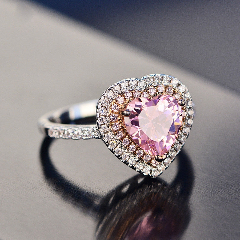 Pink Heart Shape Created Sapphire Halo Ring
