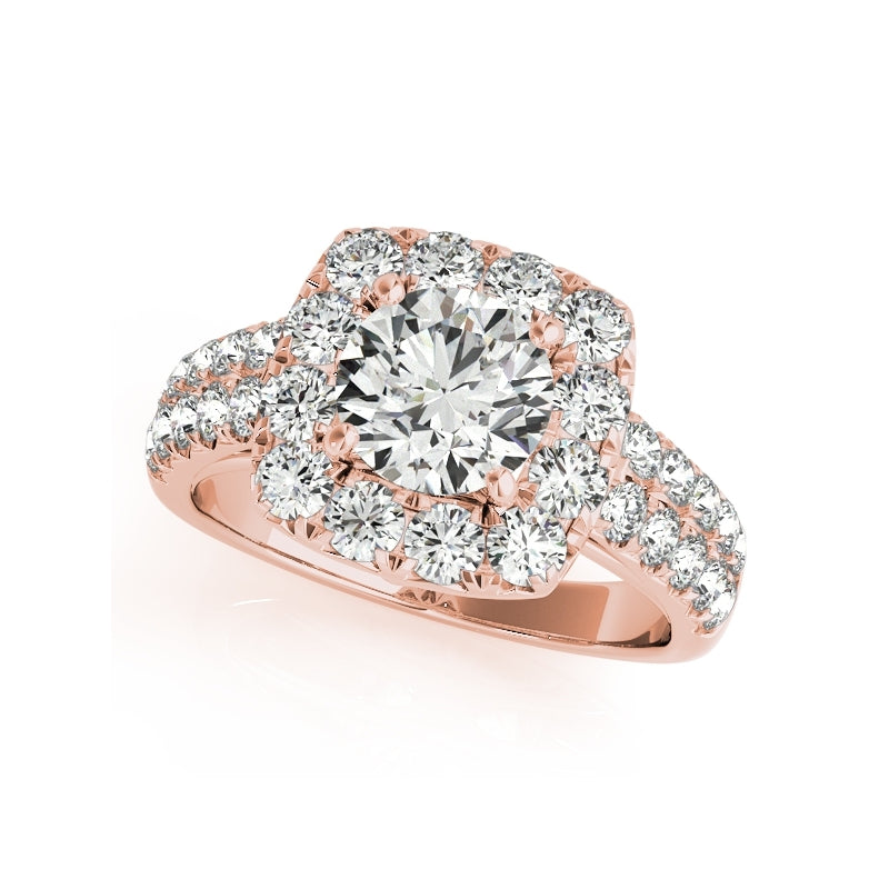 Rose Gold Double Row Halo Created Diamond Ring Bridal Set