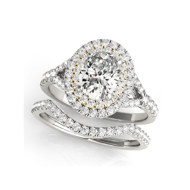 Brilliant Halo Created Diamond Ring Bridal Set