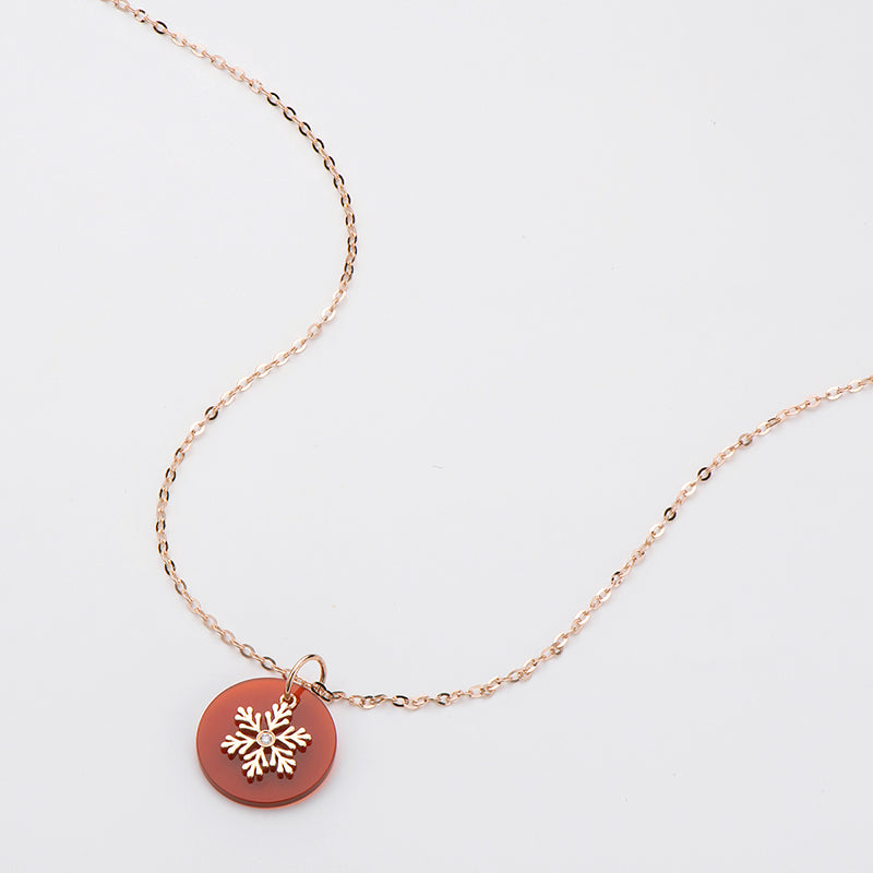 18K Rose Gold 0.006ct Natural Diamond 1.59ct Red Agate Snowflake Pendant Necklace