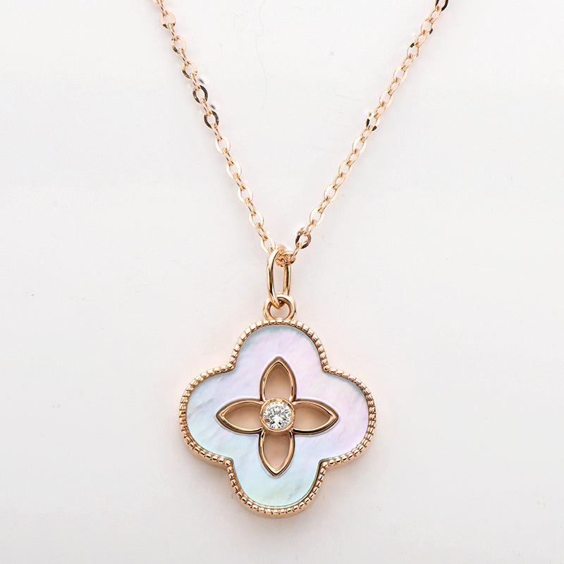 18K Rose Gold 0.032ct Real Diamond Natural Mother-Of-Pearl Clover Pendant Necklace