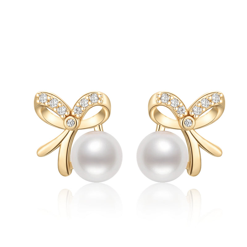 Bowknot Natural Cultured Freshwater Pearl Earring